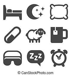 conjunto, iconos, sueño, fondo., vector, blanco