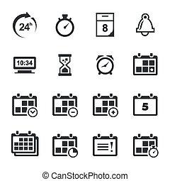 conjunto, iconos tiempo
