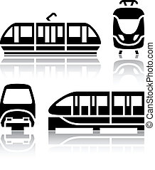conjunto, iconos, tranvía, -, monorriel, transporte