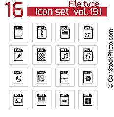 conjunto, iconos, vector, negro, archivo, tipo