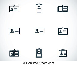 conjunto, iconos, vector, negro, documentode identidad
