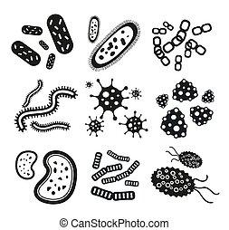 conjunto, iconos, virus, negro, blanco, bacterias