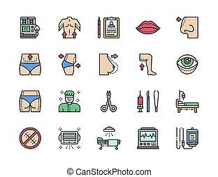 conjunto, icons., cirujano, liposucción, plástico, color, rhinoplasty., cirugía, línea