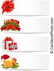conjunto, illustration., banners., vector, navidad, invierno
