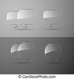 conjunto, illustration., bubbles., vidrio, vector, discurso,...