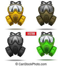 conjunto, illustration., careta antigás, vector, respirator.