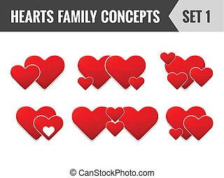 conjunto, illustration., familia , vector, corazones, concepts., 1.