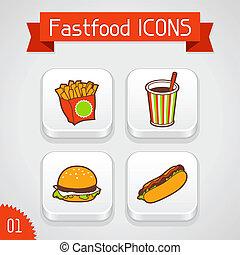 conjunto, illustration., iconos, alimento, apps, rápido, ...