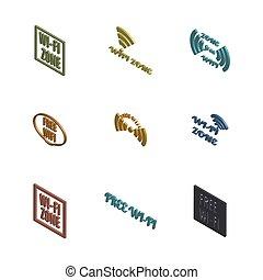 conjunto, illustration., iconos, radio, vector, 3d