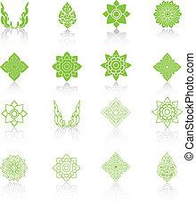 conjunto, illustration., iconos, tailandés, vector, arte de...