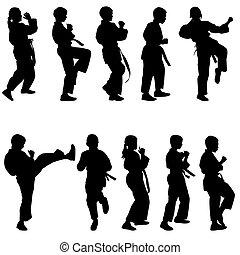conjunto, illustration., karate., siluetas, vector, negro, ...