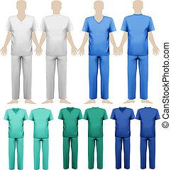 conjunto, illustration., médico, overalls., vector, diseño, ...