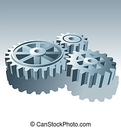 conjunto, illustration., metal, vector, gears., operación