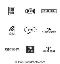conjunto, illustration., radio, iconos, vector