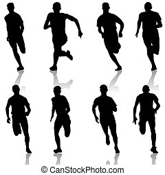 conjunto, illustration., silhouettes., men., vector, corredores, sprint