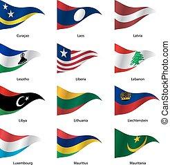 conjunto, illustration., states., soberano, vector, banderas, mundo