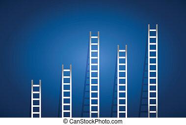 conjunto, ilustración, escaleras, diseño