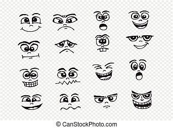 conjunto, ilustración, mano, caras, caricatura, dibujo