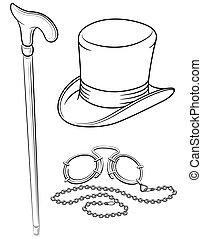 conjunto, ilustración, pince-nez, aislado, punto, accesorios, walkingstick, vector, retro, plano de fondo, sombrero blanco