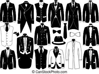 conjunto, ilustración, trajes