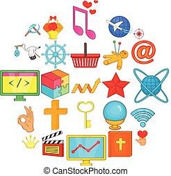 conjunto, imagen, iconos, estilo, caricatura