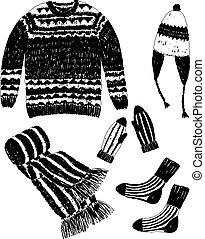 conjunto, imagen, tejido, vector, lana, ropa
