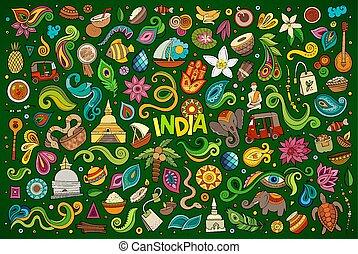 conjunto, indio, objetos, garabato, símbolos, vector,...