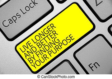 conjunto, informática, foto, misión, signo amarillo, ordenador teclado, más tiempo, su, meta, crear, mejor, intention, vivo, texto, conceptual, actuación, purpose., descubrimiento, llave, reflexión, mirada, document.