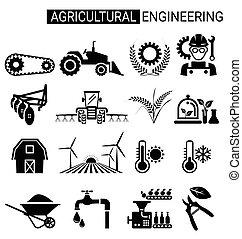 conjunto, ingeniería, diseño, agrícola, agricultura, icono