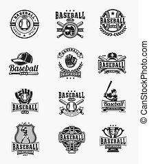 conjunto, insignias, coloreado, emblemas, vector, beisball,...