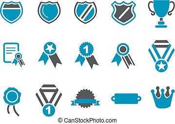 conjunto, insignias, icono