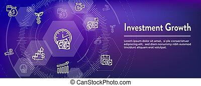 conjunto, inversiones, dólar, símbolos, crecimiento, banca, -, icono, etc
