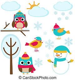 conjunto, invierno, elementos