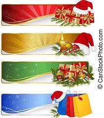 conjunto, invierno, ilustración, banners., vector, navidad