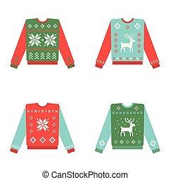 conjunto, invierno, patrón, feo, suéteres, navidad