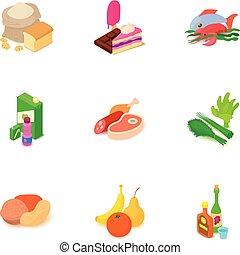 conjunto, isométrico, comestibles, estilo, iconos