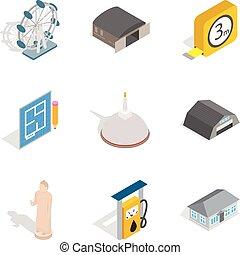conjunto, isométrico, iconos, estilo, arquitectura