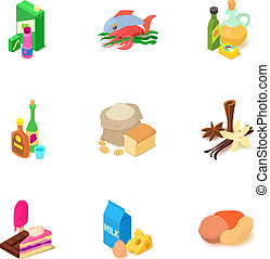conjunto, isométrico, viand, estilo, iconos