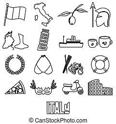 conjunto, italia, contorno, iconos, país, símbolos, tema, eps10