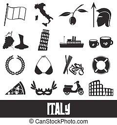 conjunto, italia, iconos, país, símbolos, tema, eps10