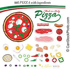 conjunto, italiano, pizza, con, ingredientes