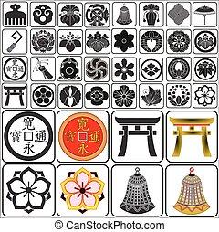 conjunto, japonés, crestas, b1
