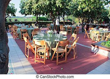 conjunto, jardín, cenar, árboles., grande, localizado, verde...