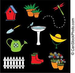 conjunto, jardín, icono