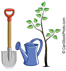 conjunto, jardín, instrumento, con, árbol