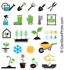 conjunto, jardinería, iconos