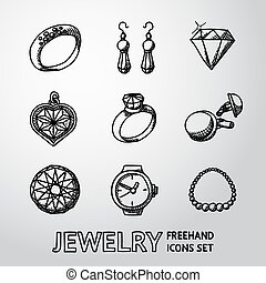 conjunto, joyas, iconos, diamantes, -, monocromo, reloj, colgante, vector, anillos, pendientes, necklace., freehand, acoplamientos del pun¢o