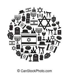 conjunto, judaísmo, iconos, símbolos, religión, vector, ...