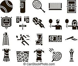 conjunto, juego del tenis, glyph, vector, equipo