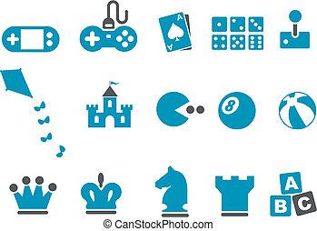 conjunto, juegos, icono